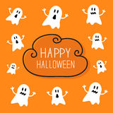 Cute spooky ghosts. Happy Halloween card. Cloud. Frame Orange background Flat design. Vector illustration Royalty Free Stock Image