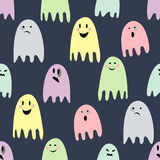 Cute spooky ghosts. Happy Halloween illustration. Seamless vector pattern with ghosts child drawing style. Flat design. Ghosts with Different Expressions Royalty Free Stock Photo