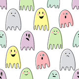 Cute spooky ghosts. Happy Halloween illustration. Seamless vector pattern with child drawing style ghosts. Flat design. Ghosts with Different Expressions Stock Photo