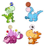 Cute sport baby dinos playing with a ball Stock Images