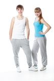 Cute sports couple in the studio Stock Photos