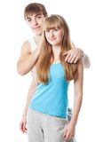 Cute sports couple in the studio Royalty Free Stock Photo