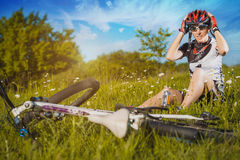 Cute sportswoman on bicycle. Active Leisure Royalty Free Stock Image