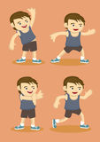 Cute Sporty Boy Doing Simple Stretching Exercises Stock Photography