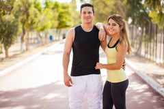 Cute sporty couple working out Stock Photography