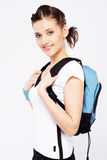 Cute sporty girl with backpack Stock Photography