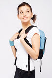 Cute sporty girl with backpack royalty free stock image