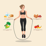 Cute sporty girl jumping with skipping rope. Creative flat style design illustration. Sport training, healthy food Stock Image