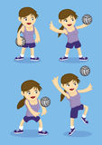 Cute Sporty Girl Playing Volley Ball Vector Illustration Royalty Free Stock Photos