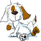 Cute spotty dog cartoon - black sketch Stock Images