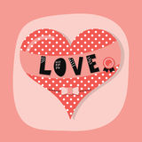 Cute spotty heart emblem with LOVE banner and award bow on pink background Stock Photo
