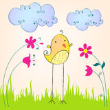 Cute spring bird illustration Stock Photography