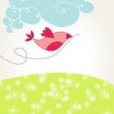 Cute spring bird illustration Stock Image