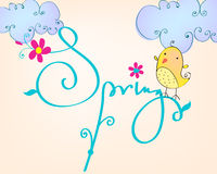 Cute spring bird illustration Royalty Free Stock Image