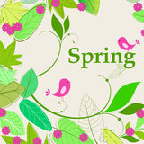 Cute spring birds illustration Royalty Free Stock Photos