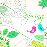 Cute spring birds illustration Royalty Free Stock Photo