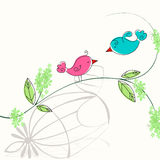 Cute spring birds illustration Stock Images