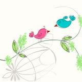 Cute spring birds illustration Stock Images