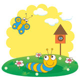 Cute spring card with caterpillar and butterfly. Royalty Free Stock Image
