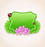 Cute spring card with flower, leaves, lady-beetle Royalty Free Stock Photography