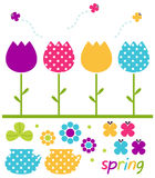 Colorful spring tulips set. Cute spring design elements. Vector Illustration Stock Photo