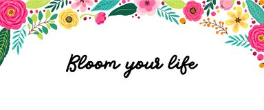 Cute Spring Flowers horizontal banner. Can be used for shopping sale or promo poster and frame leaflet, social media banner royalty free illustration