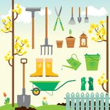 Cute spring gardening set Royalty Free Stock Photos