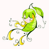 Cute spring girl. Vector doodle, hand drawn style illustration of cute floral spring girl Stock Photography