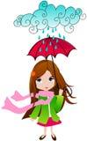Cute spring girl with umbrella Stock Photography