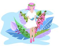 Cute spring girl in a white dress with a wreath on her head is surrounded by spring flowers. Surreal Abstract Flowers. stock illustration