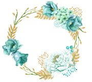 Hand painted wreath of watercolor mint gold flowers. Cute spring hand painted wreath of watercolor mint gold flowers and plants. Save the date template royalty free illustration