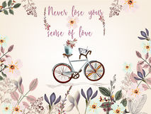 Cute spring illustration with bicycle and pretty flowers. Never Stock Photo