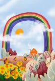 Cute Spring landscape inn farmland with butterfly, wild grass flower on hills, sun, rainbow, fluffy clouds and blue sky, Vertical