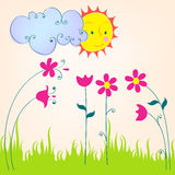Cute spring meadow illustration Royalty Free Stock Photo