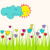 Cute spring meadow illustration Royalty Free Stock Images