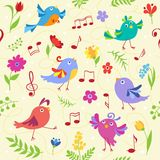 Cute spring musical birds seamless pattern Stock Photo
