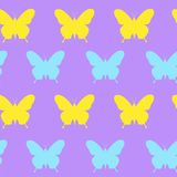 Cute Spring Seamless Pattern With Colorful Butterflies Ornament On Purple Background. Vector Illustration Royalty Free Stock Photos