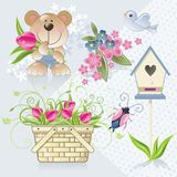 Cute spring set 1 Royalty Free Stock Image