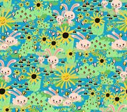 Cute Springtime Bunny pattern. Seamless rabbit background for kids. Bunnies carrots sunflowers garden green seamless pattern. vector illustration