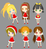 Cute sprite Santa girls set (vector) Stock Photo