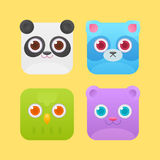 Cute square animals icons for games Royalty Free Stock Photos