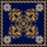 Cute square card, tea box template or fashionable shawl in ethnic style. Flowers mandalas and gold ornamental pattern. On deep blue background royalty free illustration