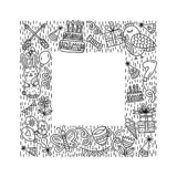 Square frame with party animals stock illustration