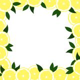 Square frame out of lemons with leaves on a white background. stock illustration