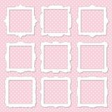 Cute square photo frame set on polka dot. Stock Photo