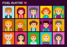 Cute square pixel avatars. Fifteen colorful portraits. Collection of cute square avatars in pixel style. Male and female character Vector Illustration