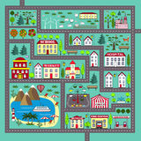 Cute square road play mat for kids activity and entertainment. Lovely city landscape car track. Play mat for children activity and entertainment. City landscape Stock Photography