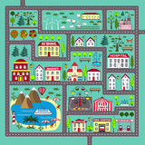 Cute square road play mat for kids activity and entertainment. Lovely city landscape car track. Play mat for children activity and entertainment. City landscape Royalty Free Stock Image