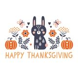 cute square scandinavian style happy thanksgiving card with bunny royalty free illustration