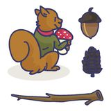 Cute squirrel with acorn cartoon with sweater vector illustration motif set stock illustration